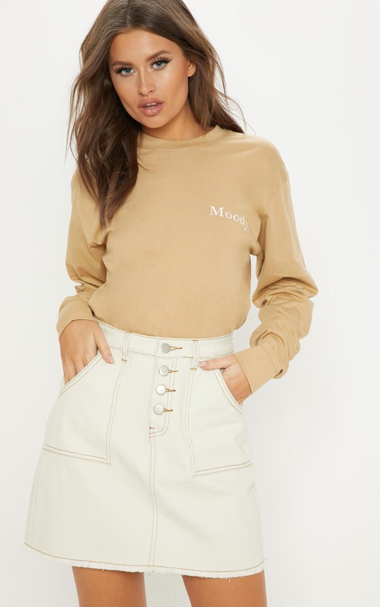 Sand Button Front Contrast Stitch Denim Skirt 1
