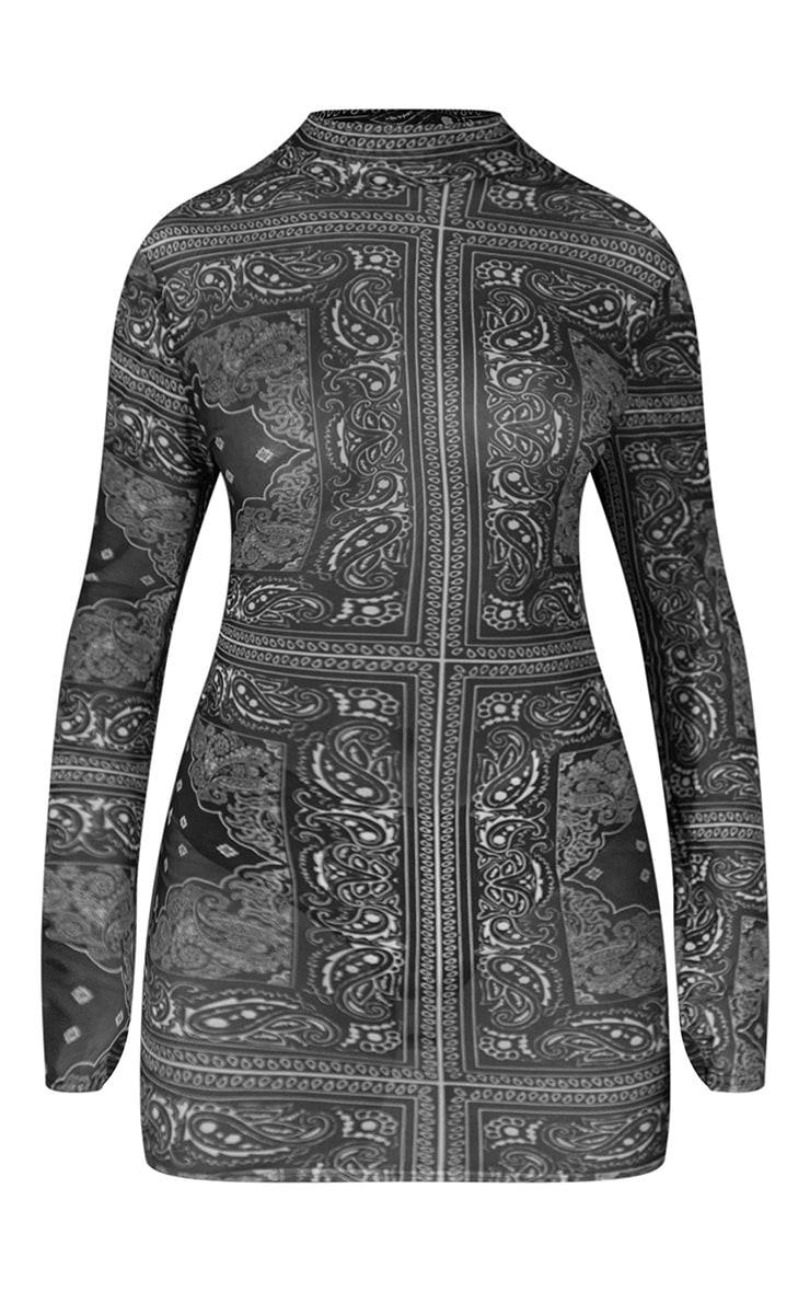 Green Paisley Printed Mesh Bodycon Dress 5