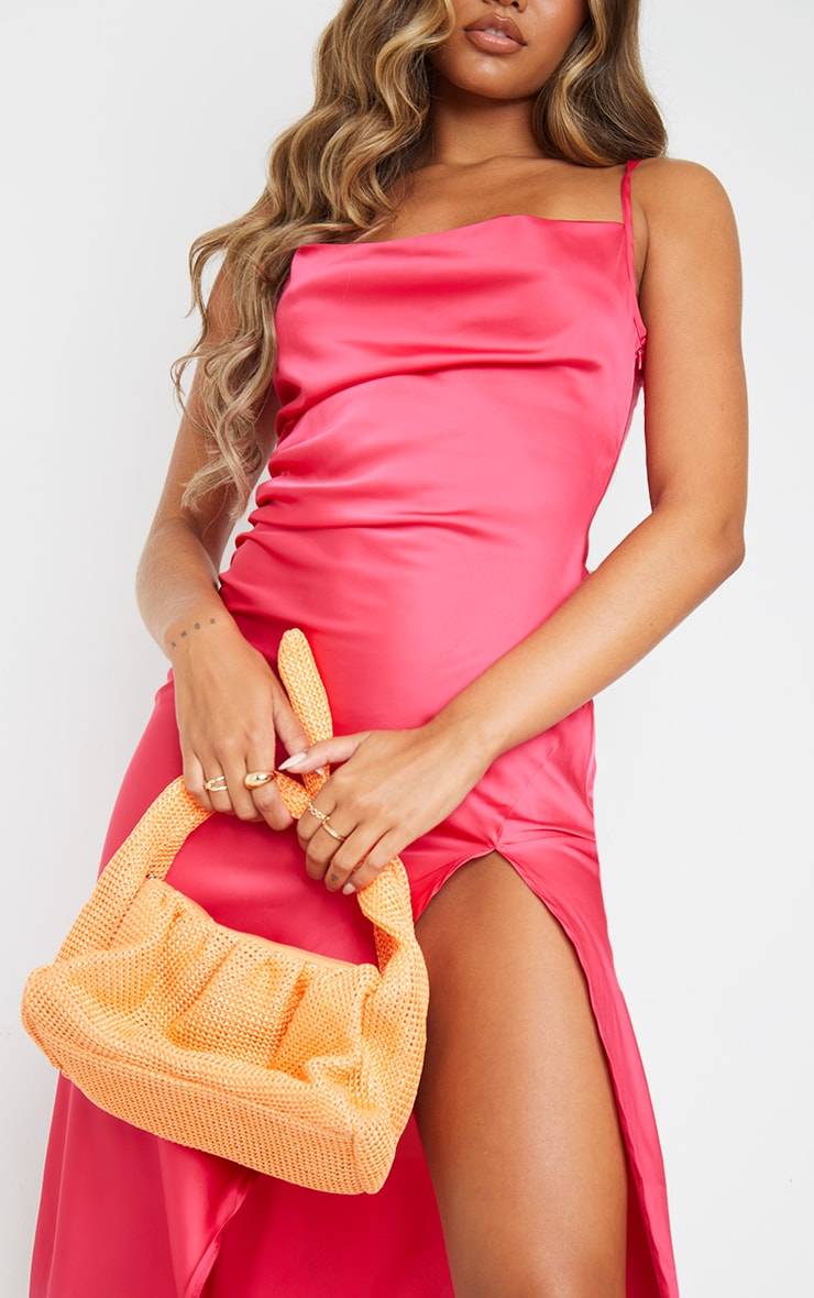 Hot Pink Strappy Satin Gathered Side Split Hem Midi Dress 4