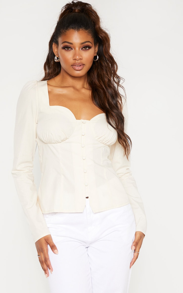 Tall Cream Button Detail Sweetheart Blouse  1