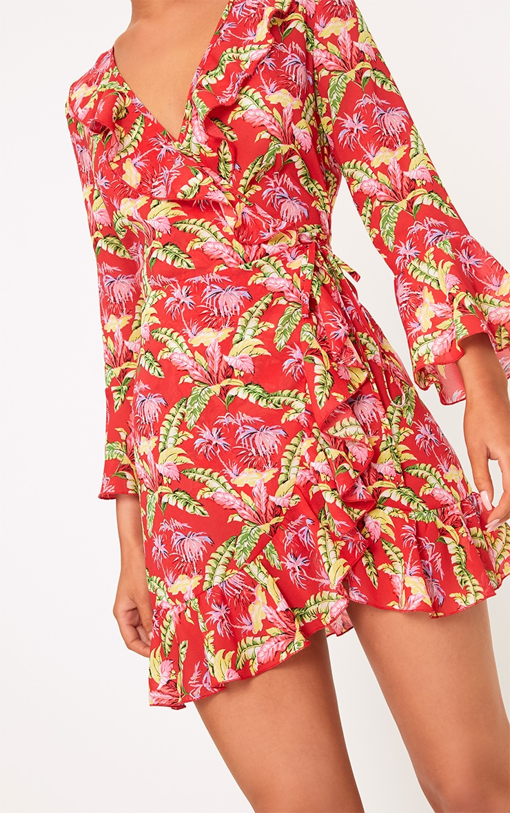 Ivy Red Floral Print Frill Wrap Tea Dress  5