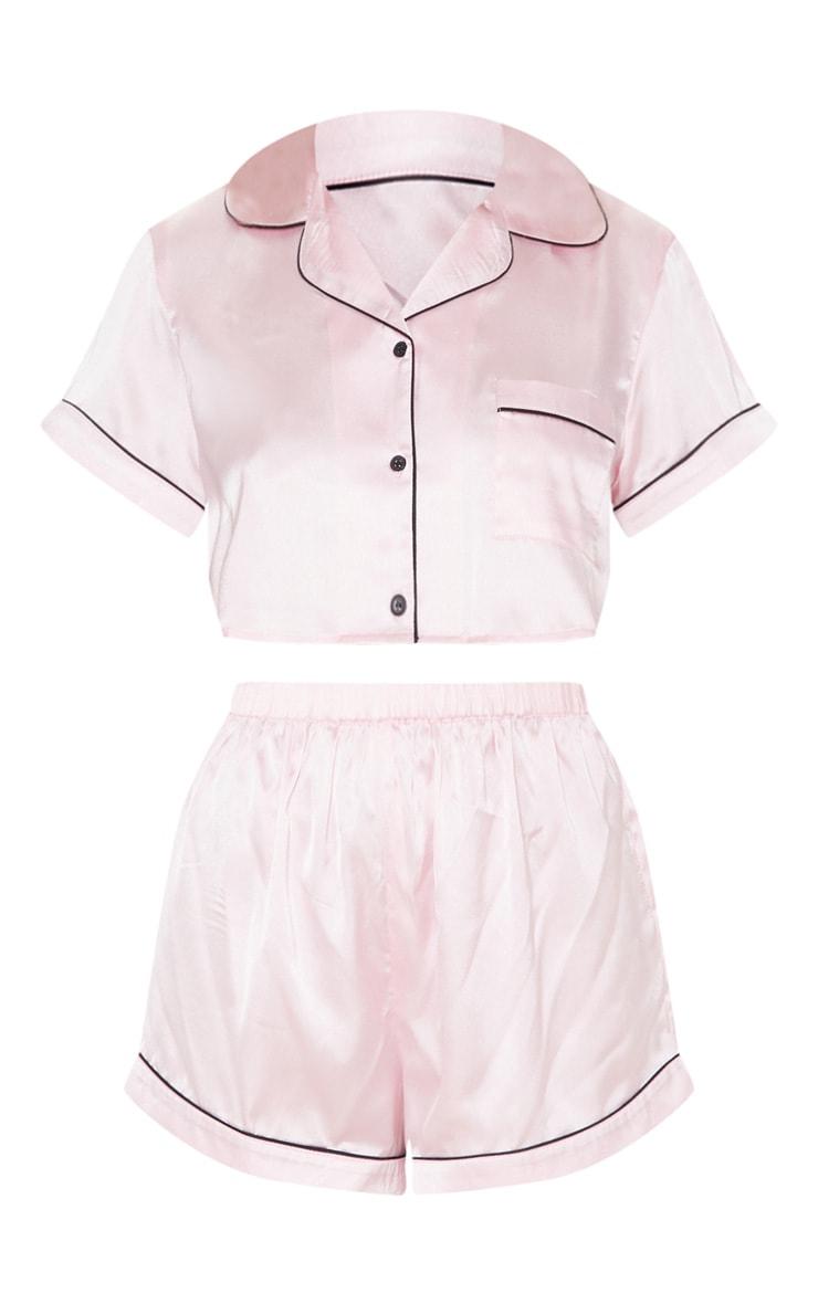 Baby Pink Cropped Satin PJ Shorts Set 3