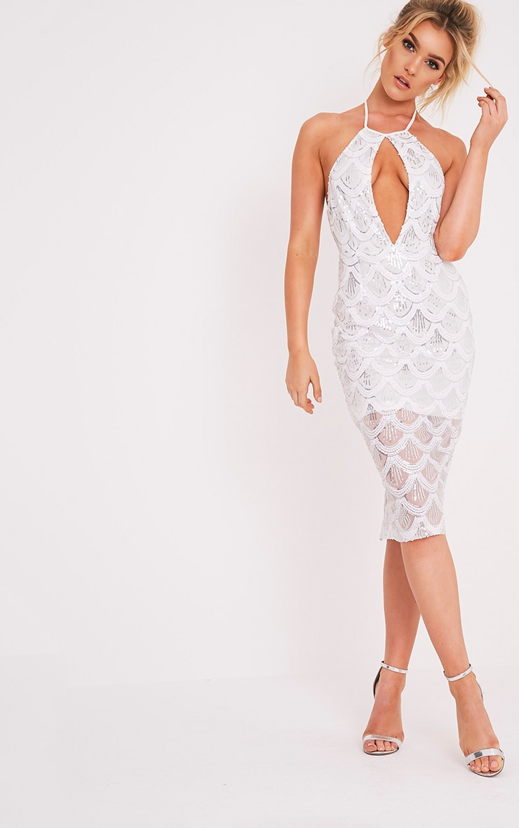 Amarie White High Neck Keyhole Sequin Midi Dress 1