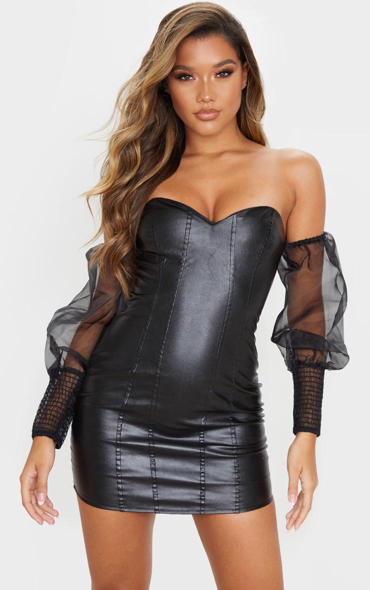 Black PU Organza Sleeve Bardot Bodycon Dress 1