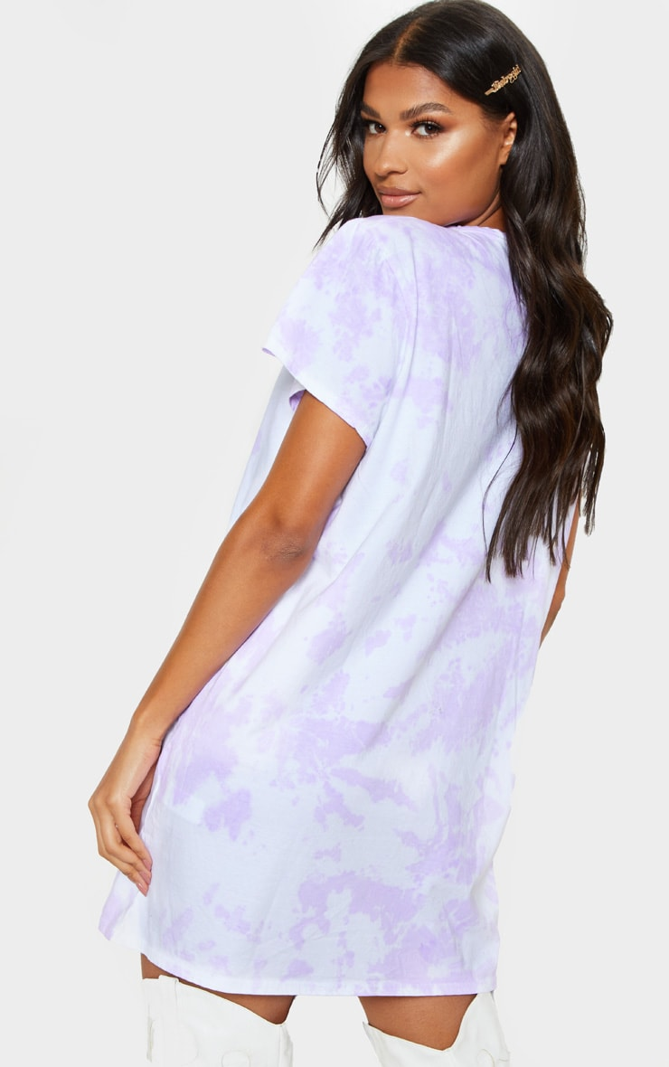 PRETTYLITTLETHING Lilac Tie Dye T Shirt Dress 2