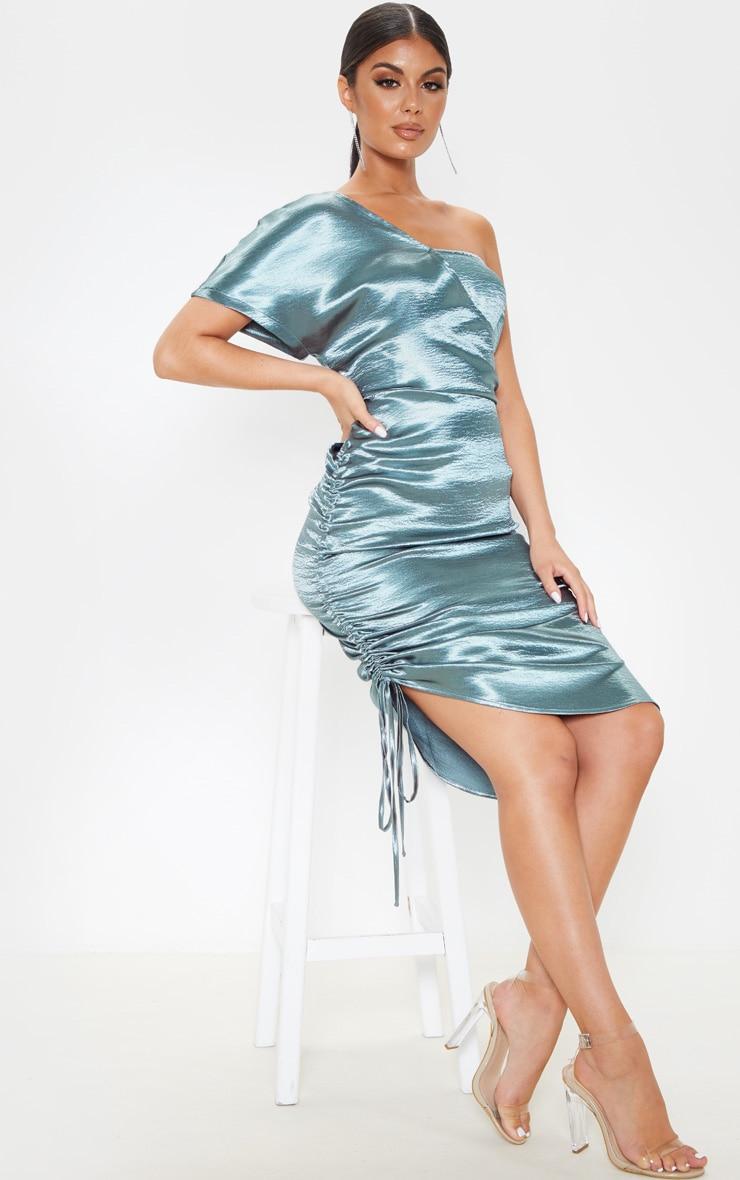 Teal One Shoulder Ruched Side Satin Midi Dress 1
