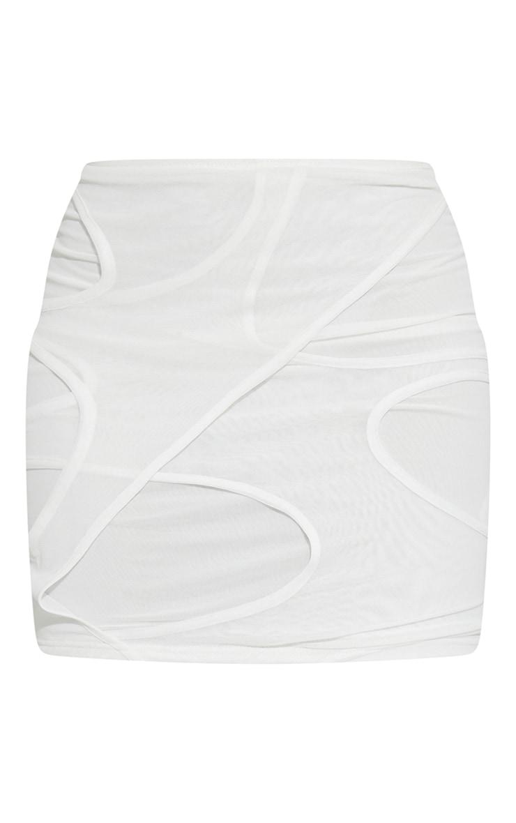 White Sheer Mesh Cut Out Mini Skirt 6