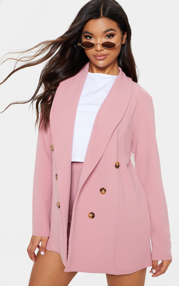 Pink Oversized Button Detail Blazer  4