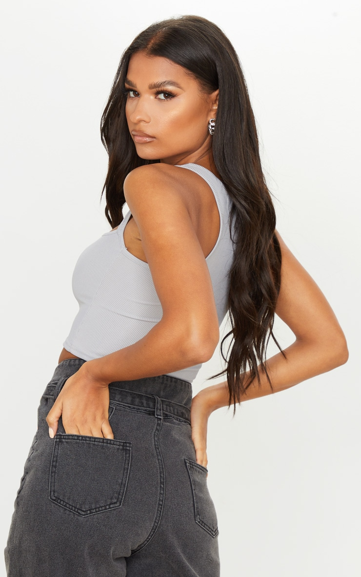 Grey Rib Sleeveless Cut Out Top 2