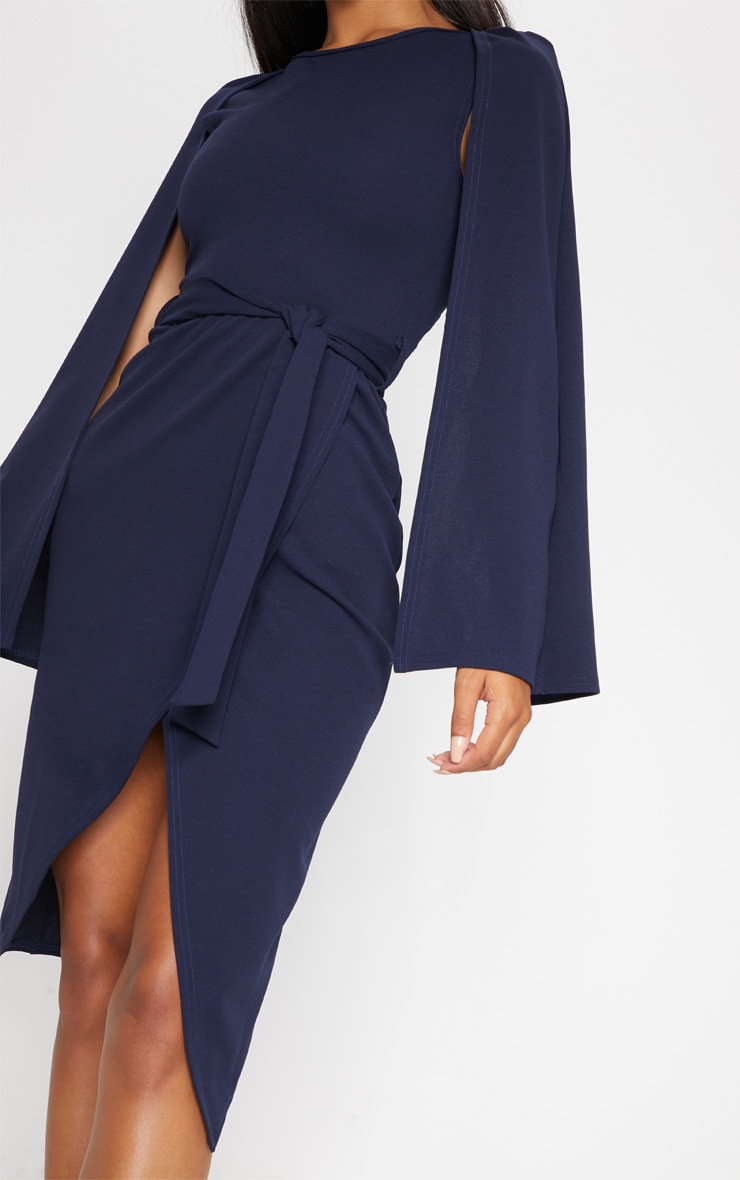 Navy Cape Style Wrap Midi Dress 5