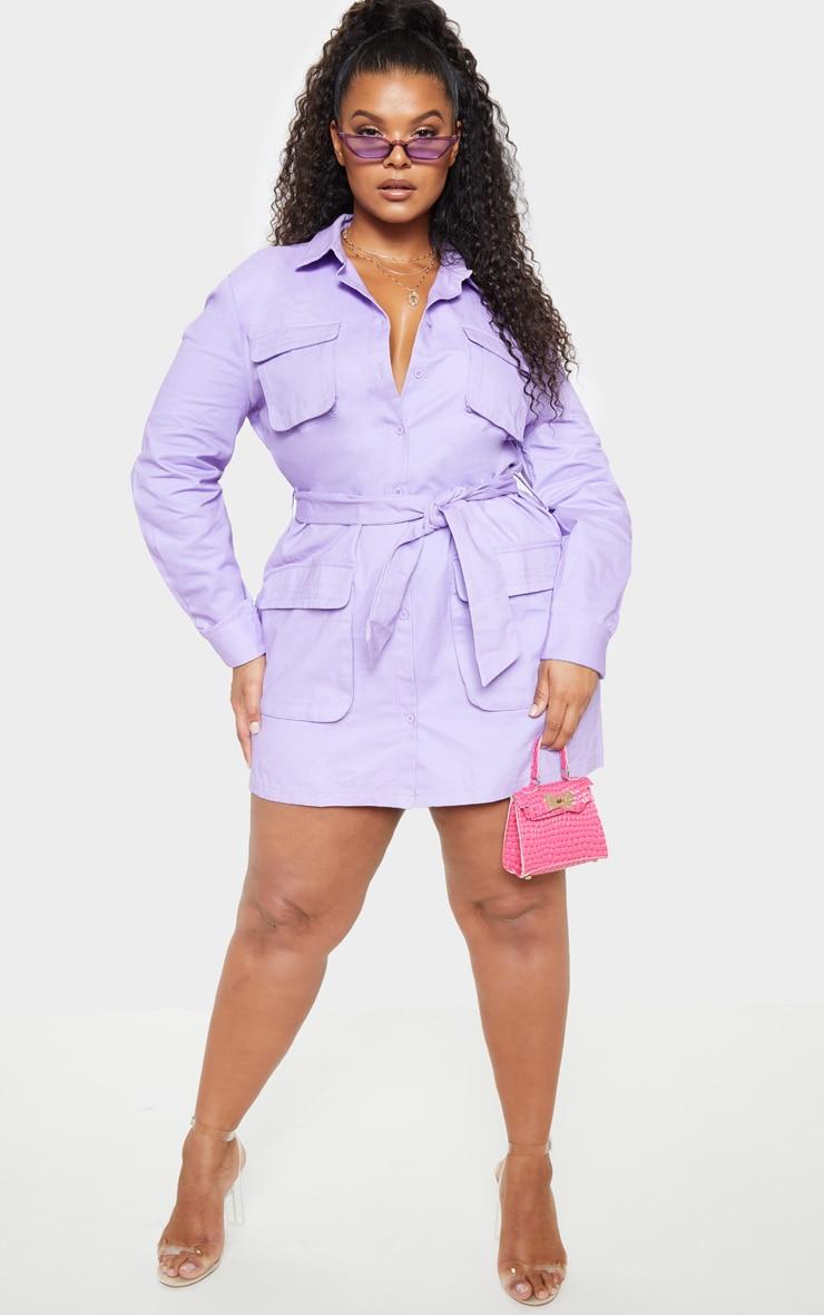 34d43cb2afe Plus Lilac Utility Tie Waist Shirt Dress image 1
