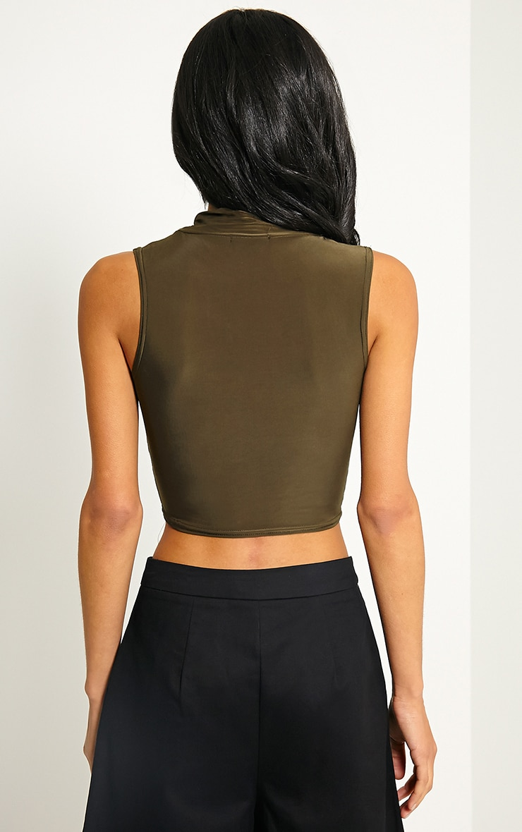 Saylor Khaki Sleeveless Slinky Crop Top 2