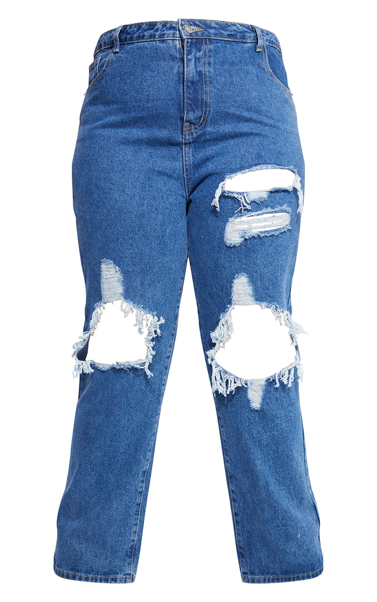 PRETTYLITTLETHING Plus Mid Blue Ripped Straight Leg Jeans 5