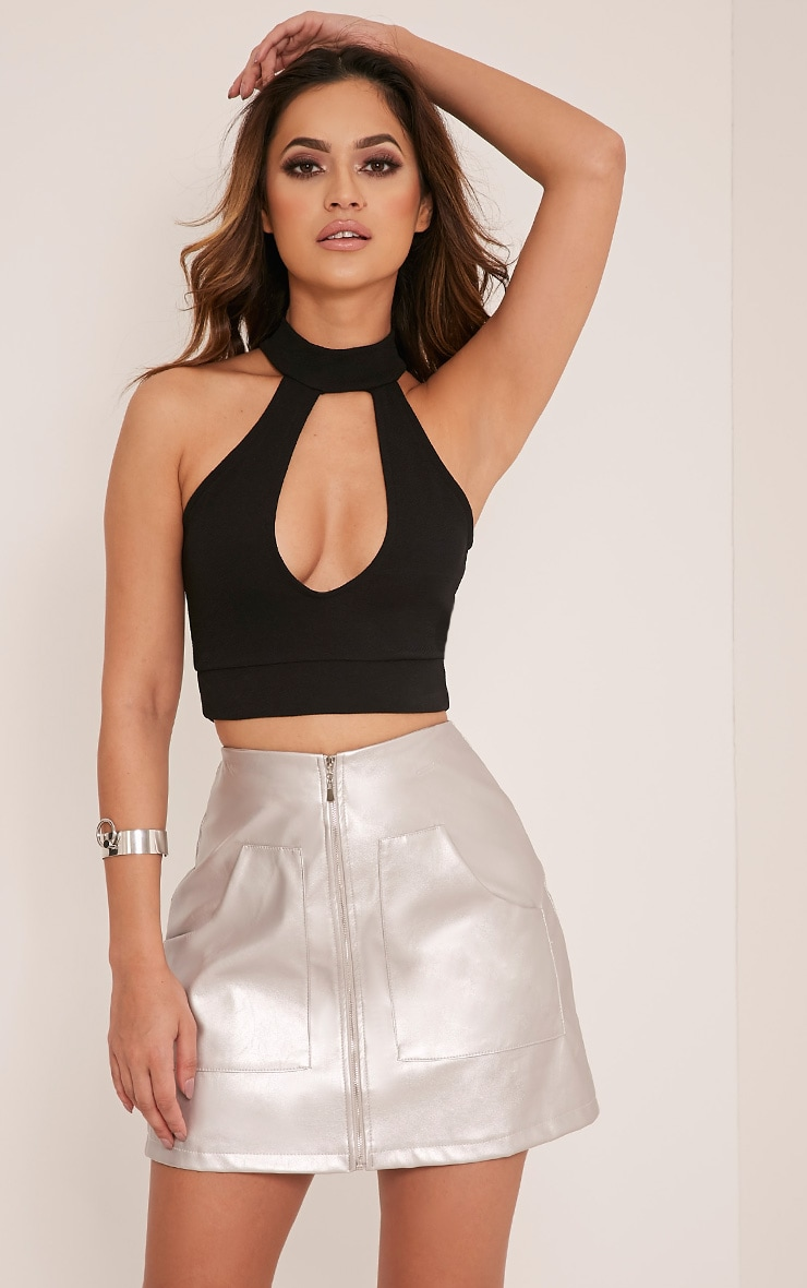 Johannah Black Cut Out Neck Crop Top 1