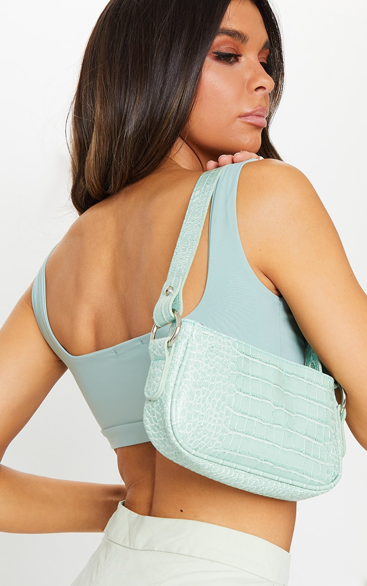 Sage Green PU Croc Shoulder Bag 1