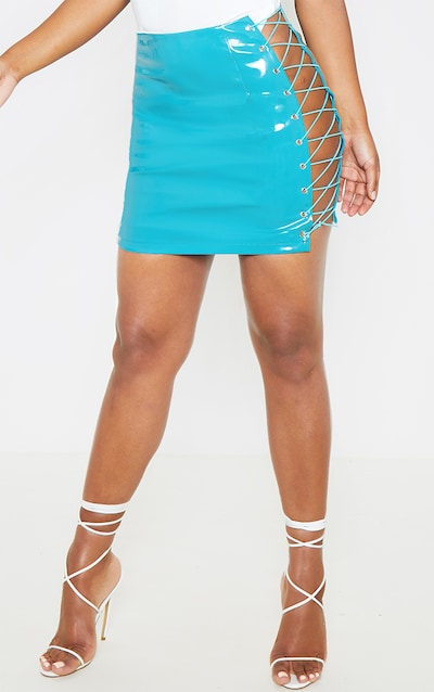 Teal Vinyl Lace Up Side Mini Skirt