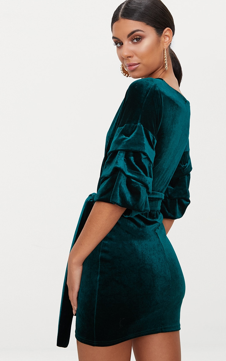 Emerald Green Tuck Sleeve Wrap front Tie Waist Midi Dress 2
