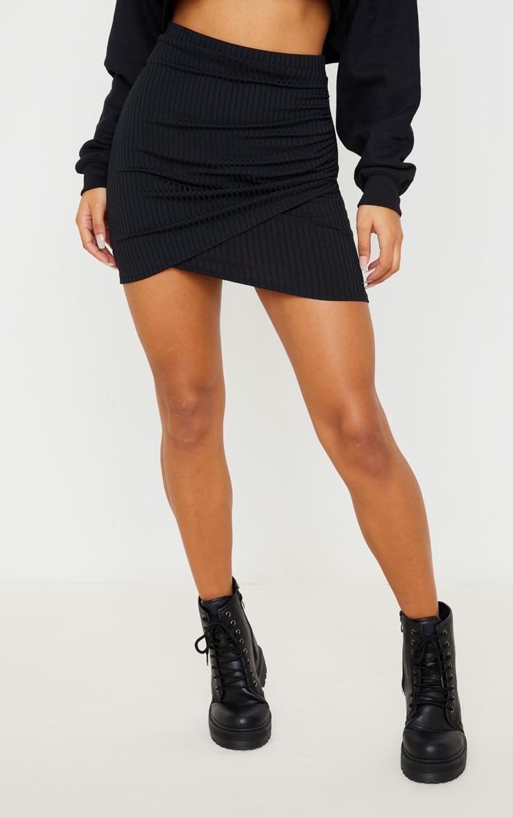 Black Ribbed Ruched Wrap Mini Skirt 2