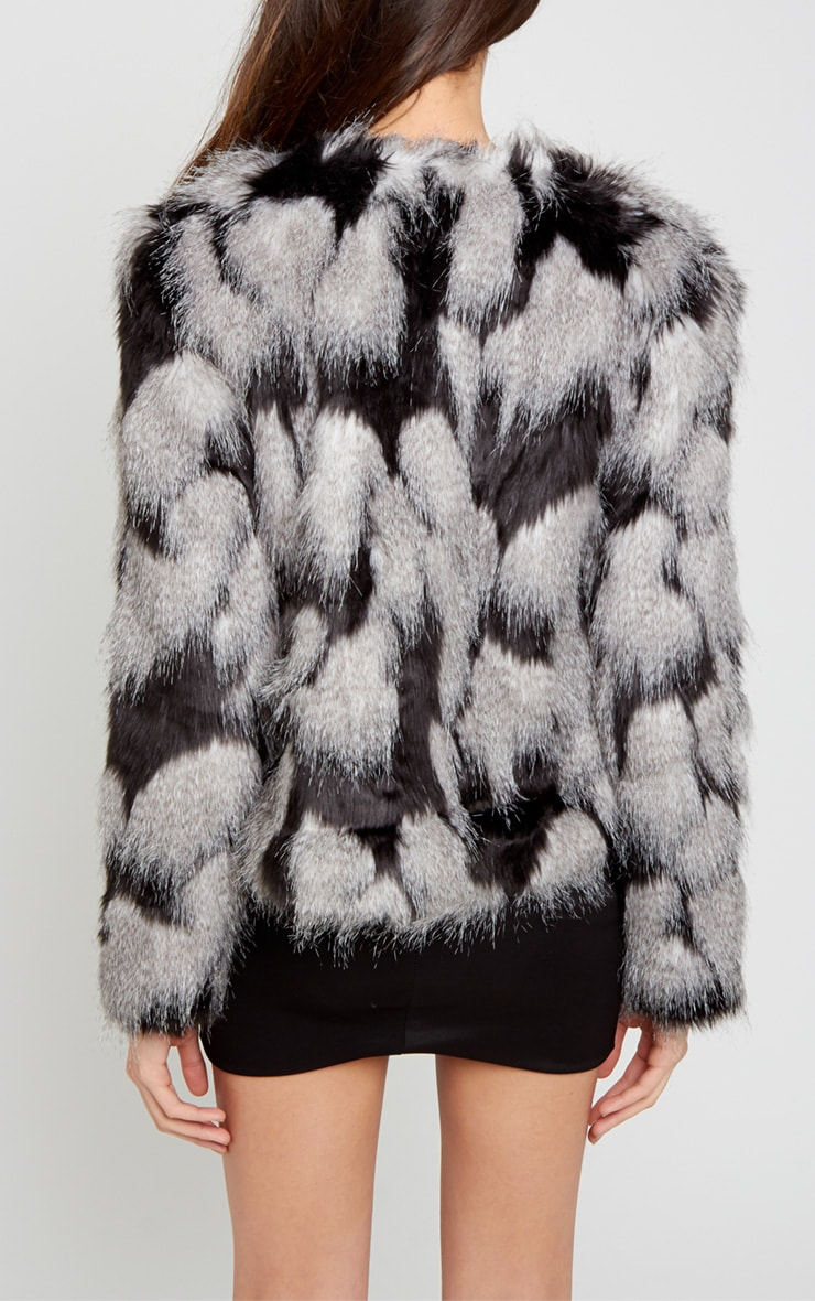 Amia Grey Fur Cropped Coat 2