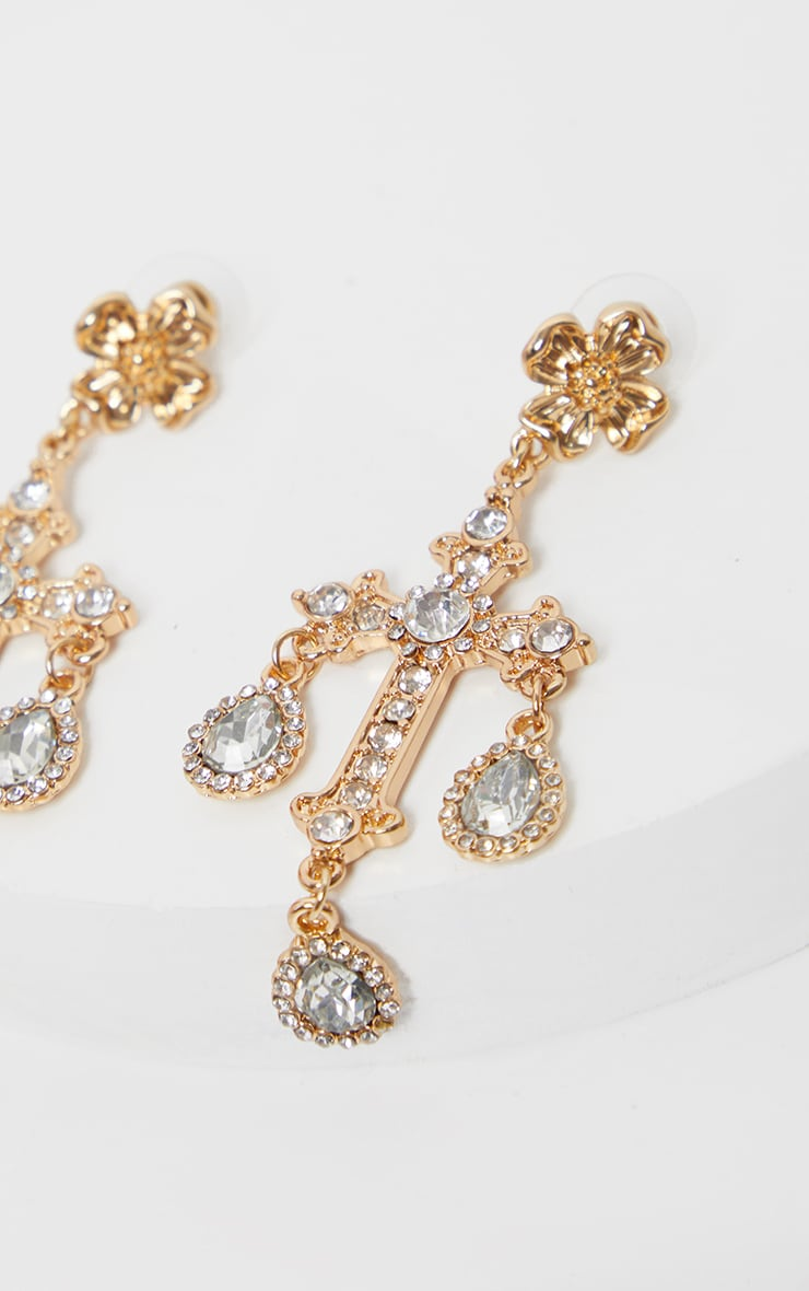 Gold Ornate Diamante Cross Earrings  3