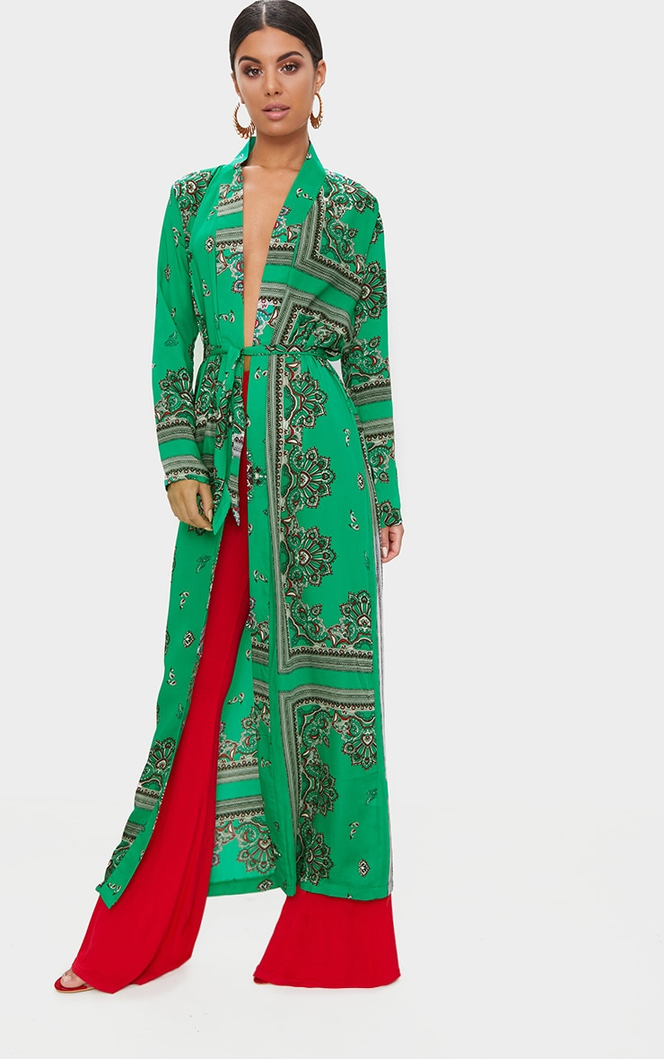 Green Silky Paisley Duster Coat 1