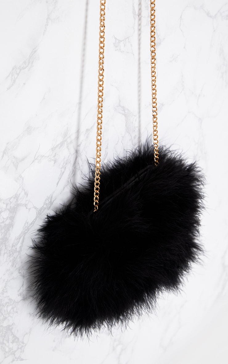 Black Marabou Feather Clutch Bag 5