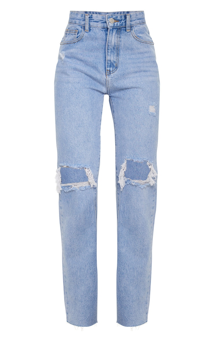 Light Blue Wash Distressed High Waist Straight Leg Jeans 6