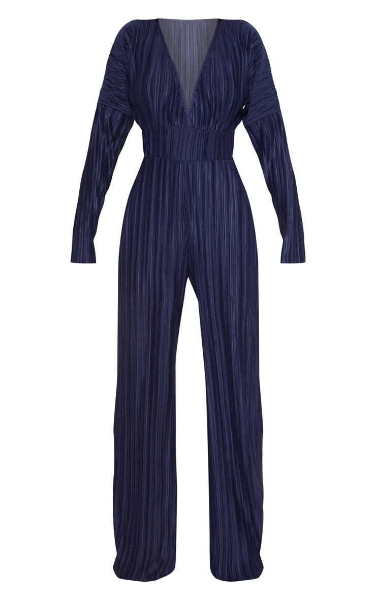 Navy Long Sleeve Pleated Jumpsuit 3