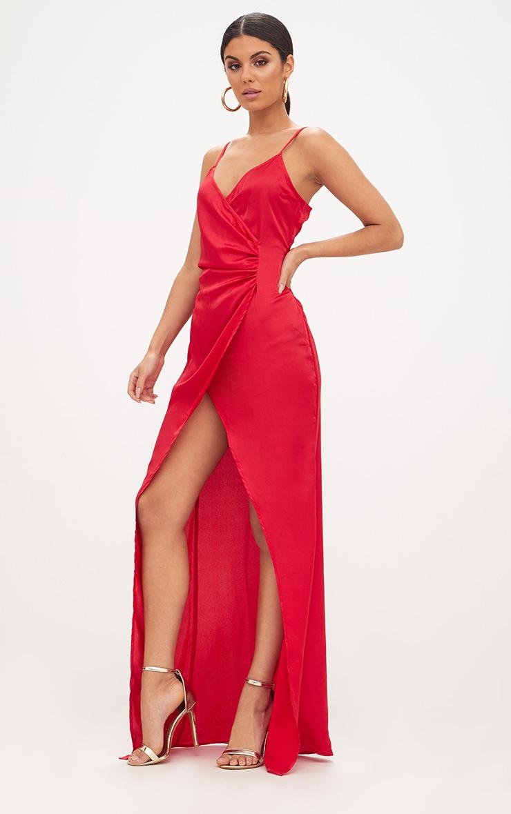 Red Satin Strappy Wrap Detail Maxi Dress 4