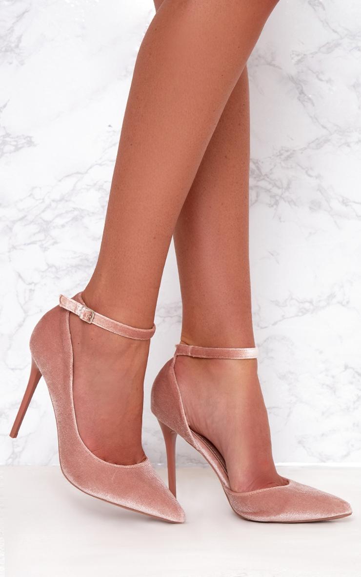 Blush Velvet Ankle Strap Pointy Heels 1