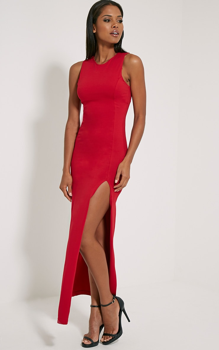 Karina Red Front Split Dress 3