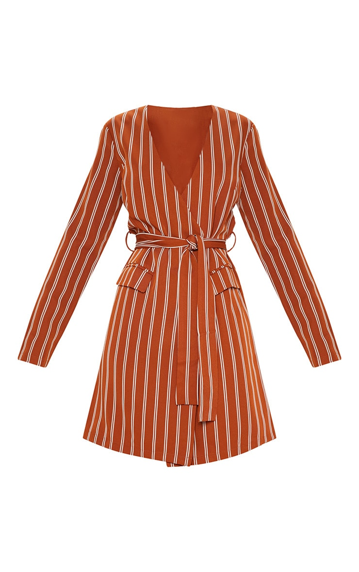 Rust Belted Blazer Dress  3