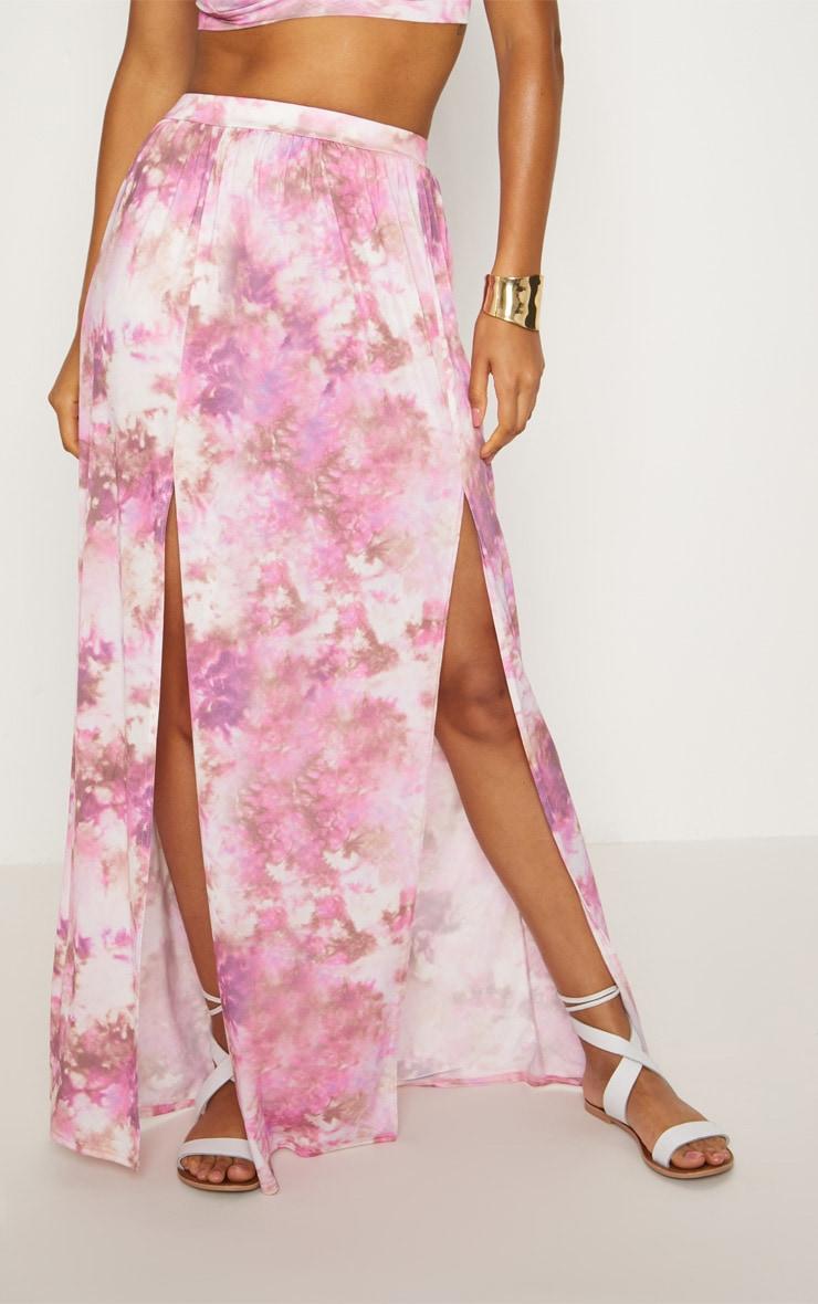 Pink Tie Dye Maxi Skirt 2