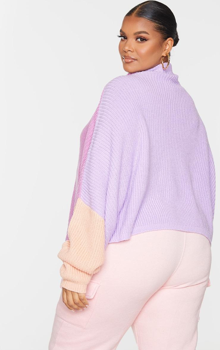 Plus Pink Oversized Color Block Sweater 2