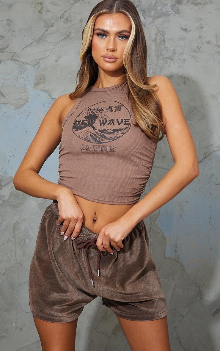 Mocha New Wave Printed Rib Ruched Vest 1