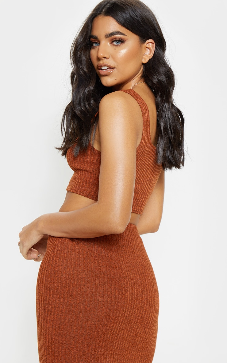 Orange Knitted Ribbed Crop Top  2