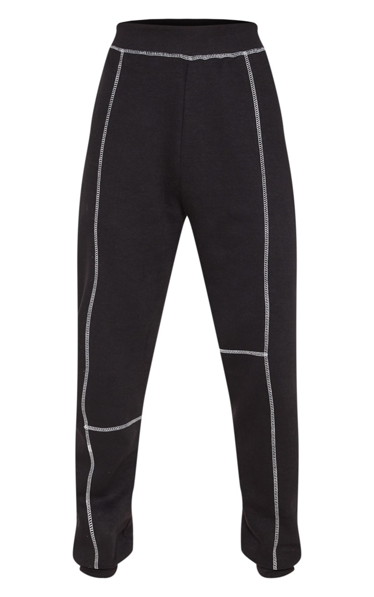 Black Contrast Stitch Cuff Track Pants 3