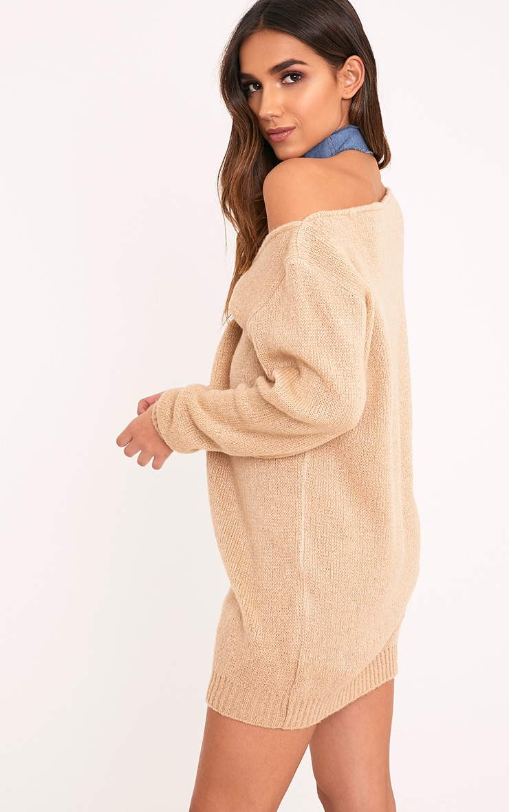 Teylie Stone Soft Knitted Off Shoulder Mini Dress 2