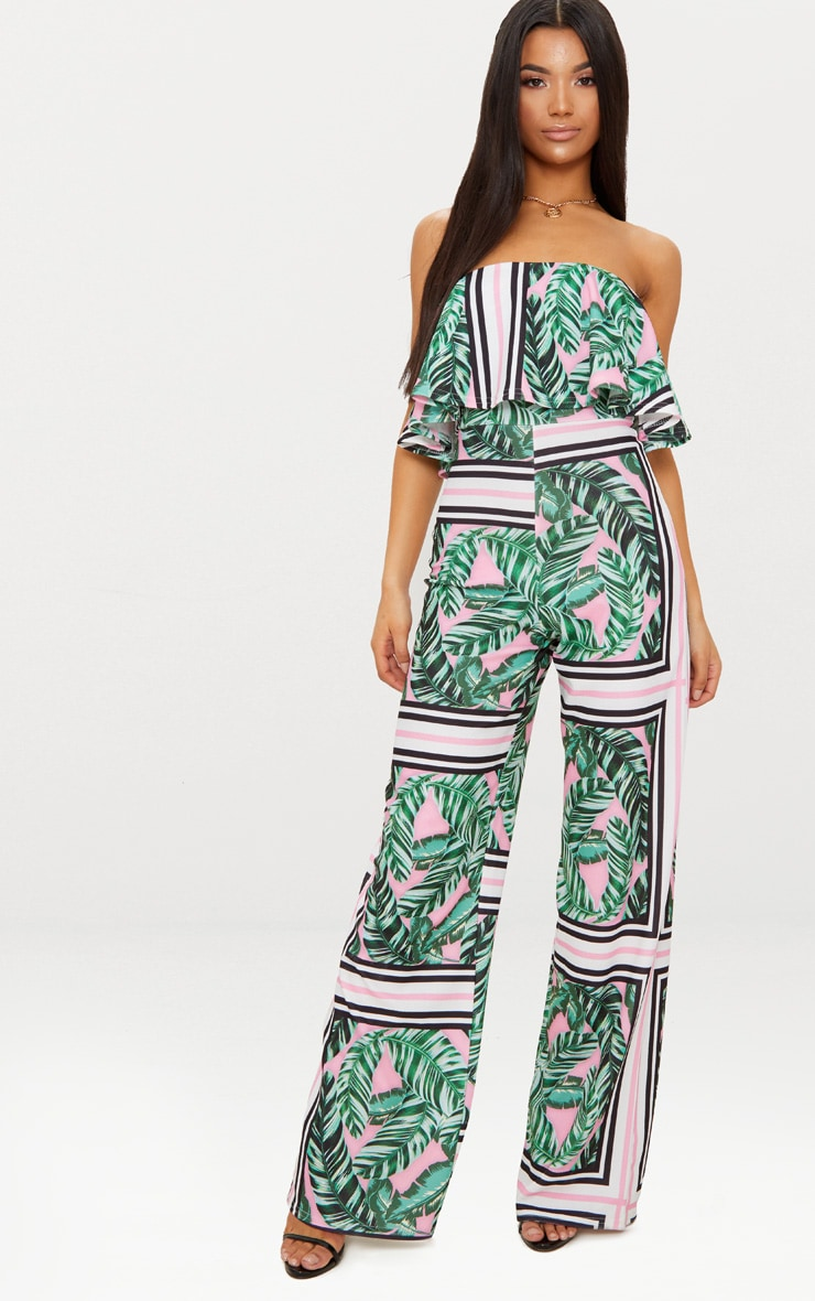Palm Printed Bardot Double Layer Jumpsuit 1
