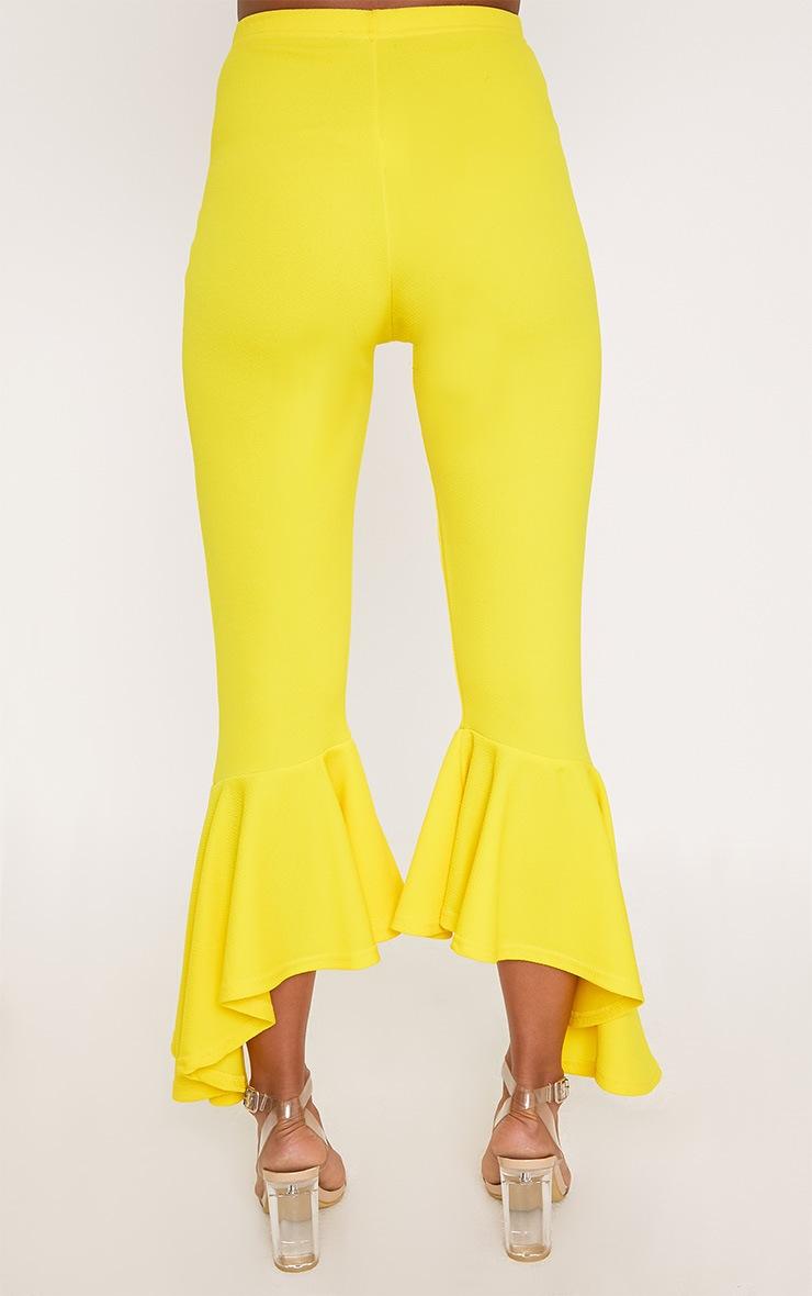 Yellow Asymmetric Flare Hem Trousers 4