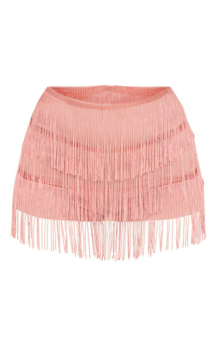 Dusty Pink Tiered Fringe Short 3