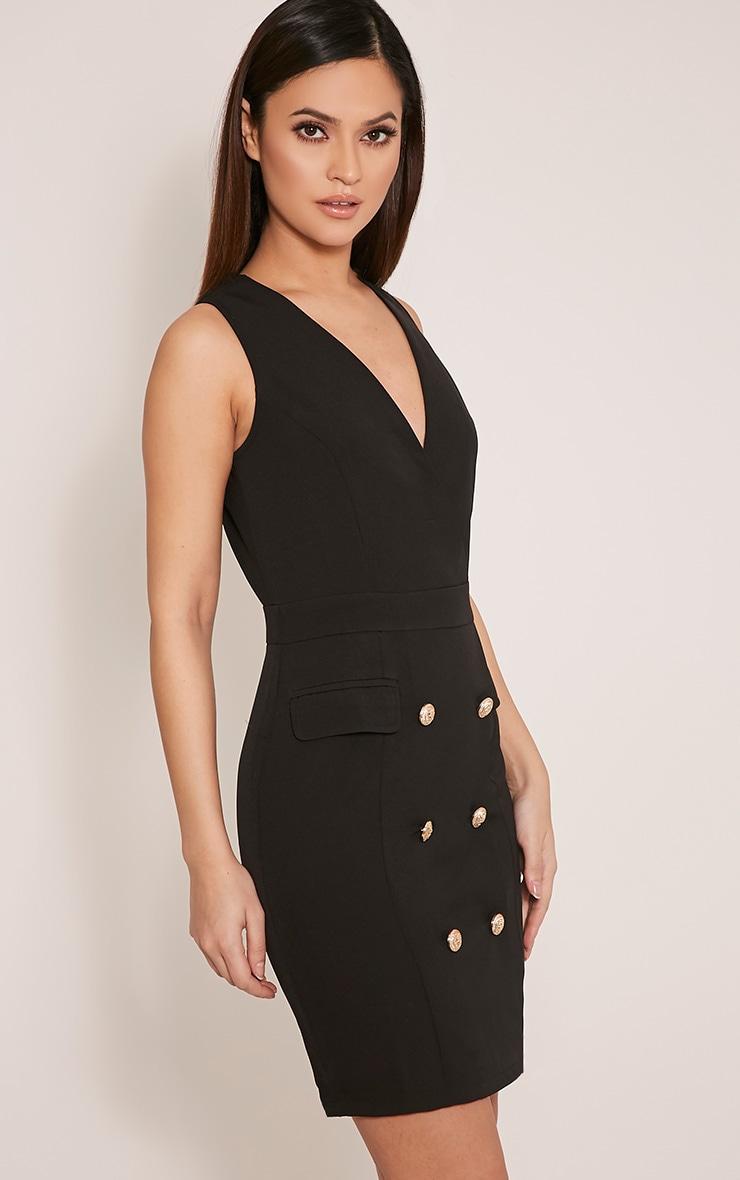 Keera Black Button Detail Blazer Dress 4