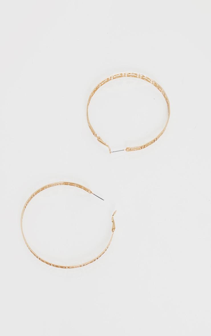 Gold Lazer Cut Hoop Earrings 3
