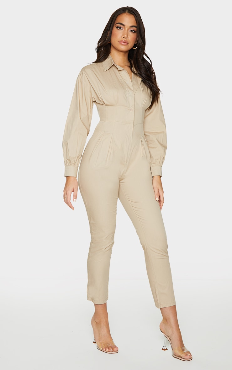 Stone Fitted Waist Shirt Jumpsuit 3