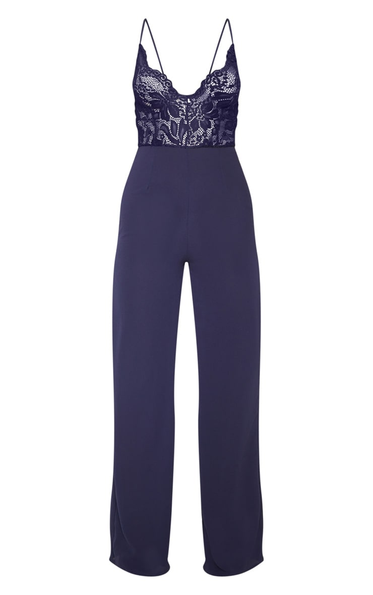 Navy Lace Wide Leg Jumpsuit 3