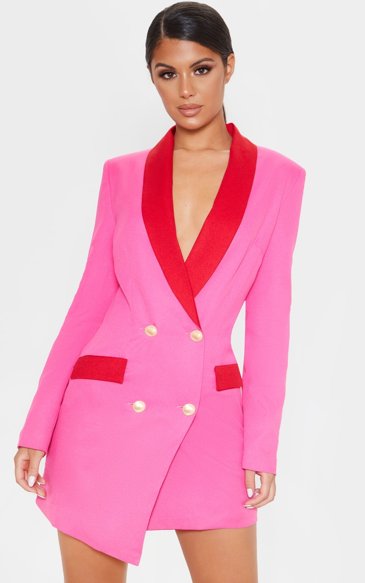 Hot Pink Gold Button Contrast Blazer Dress 1