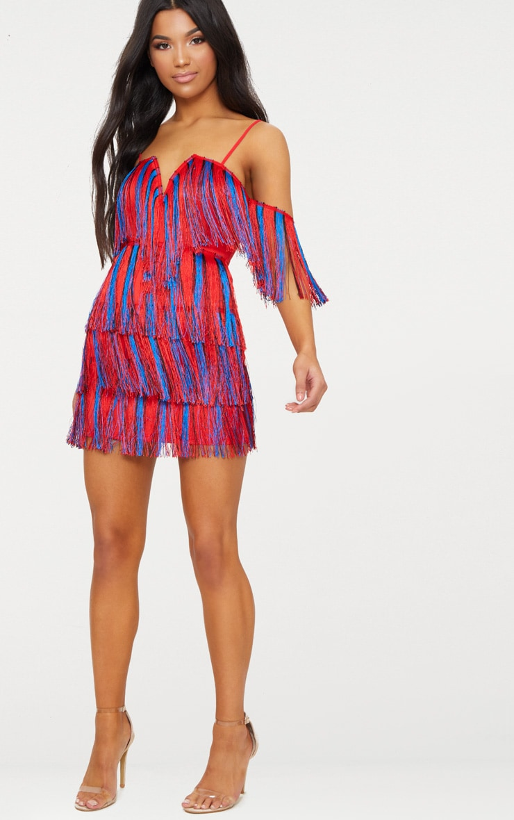 Red Stripe Tassel Bardot V Plunge Bodycon Dress 4