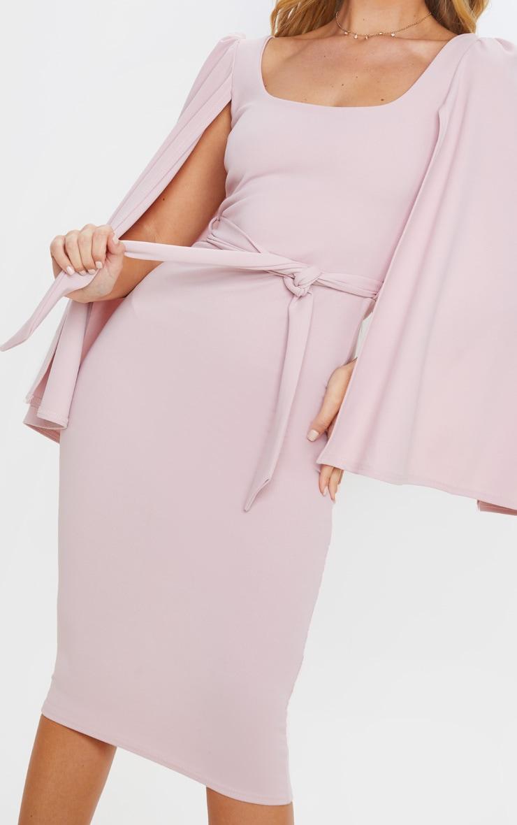 Dusty Lilac Cape Sleeve Tie Waist Midi Dress 5