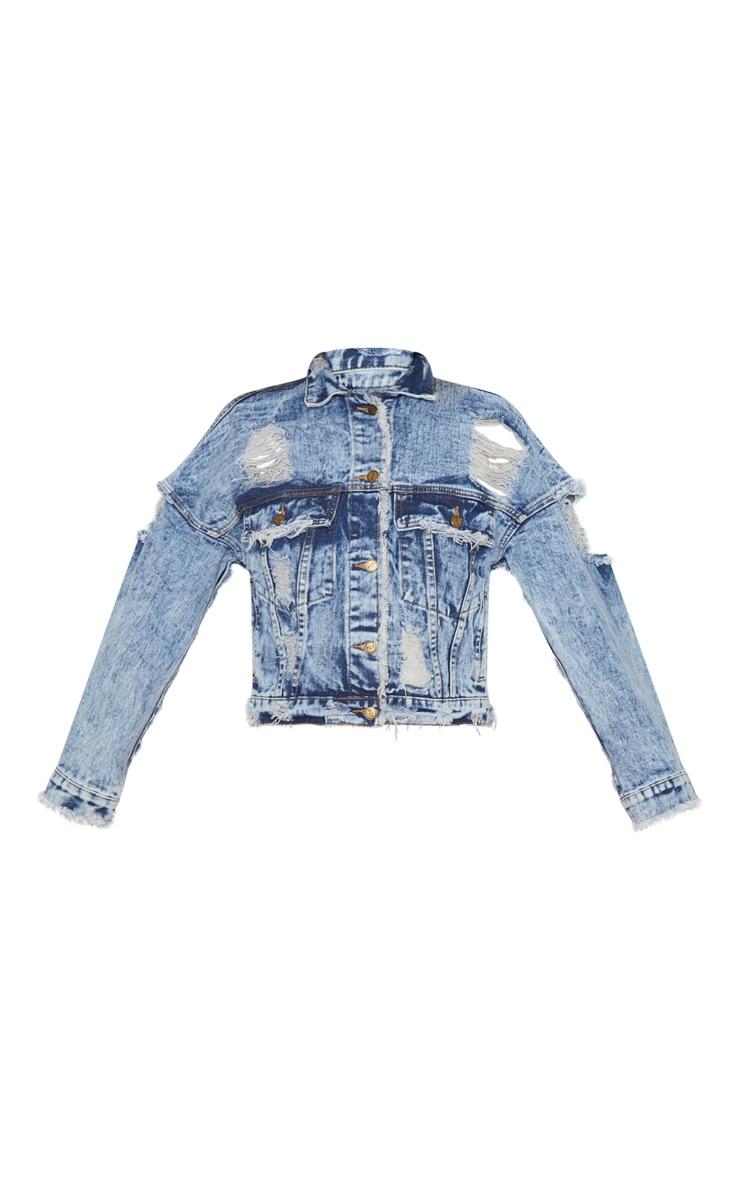 Acid Wash Distressed Cropped Denim jacket 3