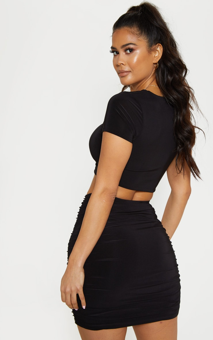 Black Slinky V Neck Ruched Front Crop Top 2